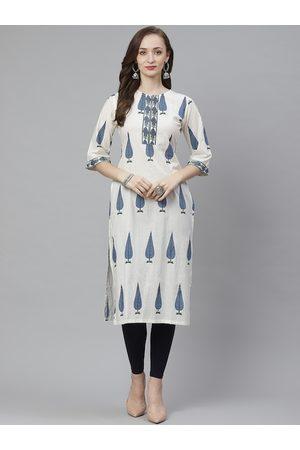 Bhama Couture Women White & Blue Ethnic Print Straight Kurta