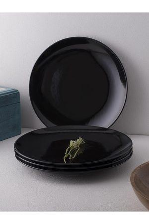 Ariane Black 4 Pieces Fine Porcelain Glossy Black Urmi Full Plates