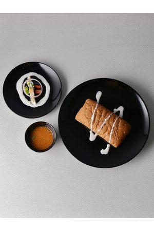 Ariane Black 12 Pieces Fine Porcelain Glossy Prime Dinner Set