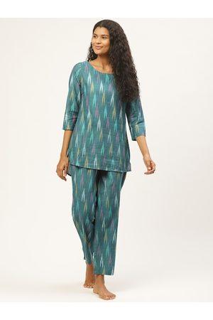 Prakrti Women Blue & Purple Pochampally Ikat Printed Night suit