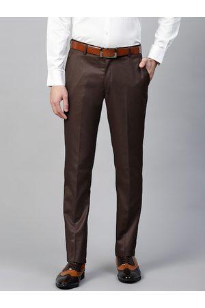 MANQ Men Brown Slim Fit Solid Formal Trousers