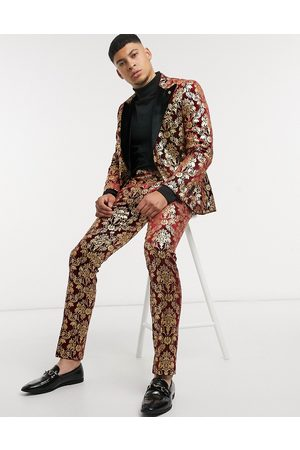 Twisted Tailor Velvet suit trousers with gold baroque print in burgundy