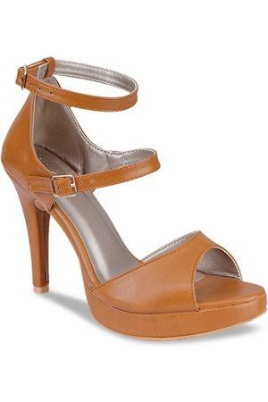 VALIOSAA Women Tan Brown Solid Stilettos