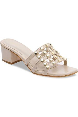 VALIOSAA Women Cream-Coloured & Gold-Toned Embellished Block Heels