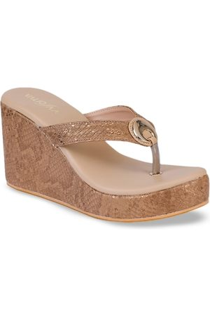 VALIOSAA Women Brown Snakeskin Textured Heels