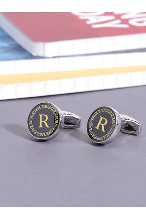 Yellow Chimes Jewellery Black & Gold-Toned Letter R Embossed Round Cufflinks