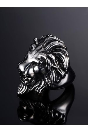 Yellow Chimes Jewellery Men Silver-Toned Lion Symbol Masculine Stainless Steel Finger Ring