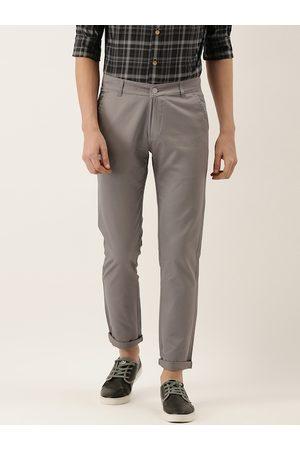 HANCOCK Men Charcoal Grey Slim Fit Solid Chinos