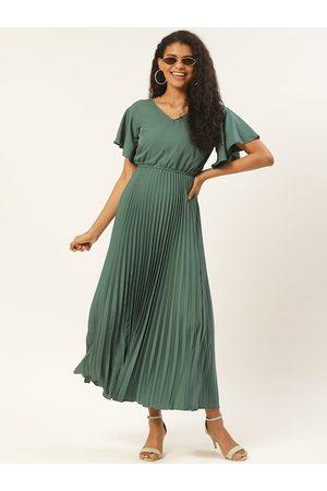 U&F Women Green Solid Accordion Pleated Maxi Dress