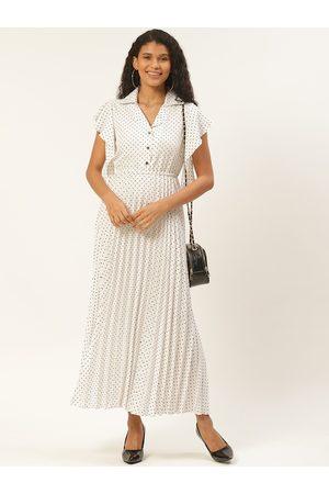 U&F Women White & Black Ditsy Dot Print Accordion Pleated Maxi Dress