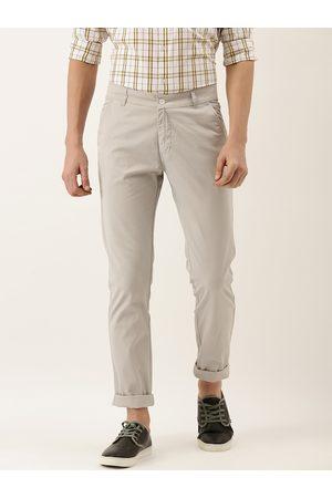HANCOCK Men Grey Slim Fit Solid Chinos