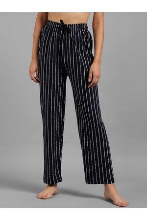 KOTTY Women Navy Blue & White Striped Lounge Pants