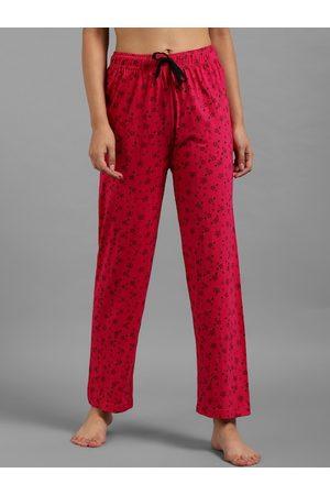 KOTTY Women Pink & Black Floral Print Lounge Pants