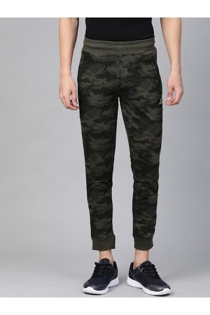 Alcis Men Olive Green Straight Fit Camouflage Printed Joggers