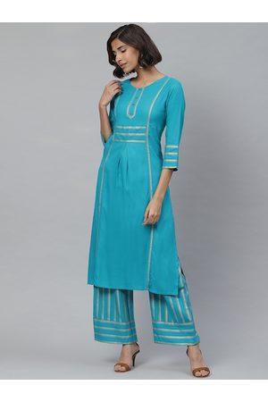 Yash Gallery Women Turquoise Blue & Golden Striped Kurta with Palazzos