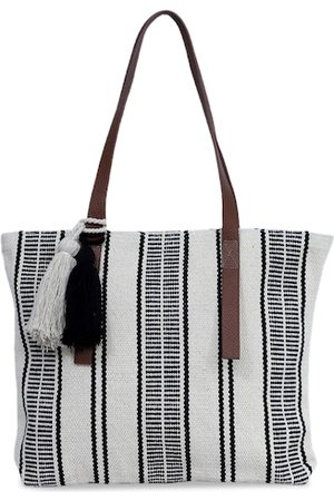 Diwaah White & Grey Striped Shoulder Bag