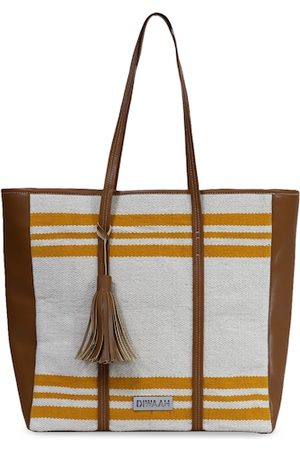 Diwaah Off-White & Mustard Yellow Colourblocked Tote Bag