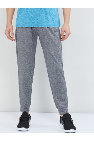 Max Collection Men Grey Melange Solid Straight-Fit Joggers