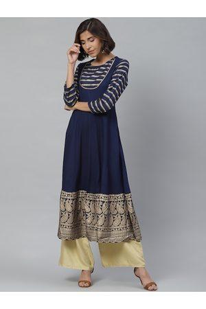 Yash Gallery Women Navy Blue & Golden Printed A-Line Kurta