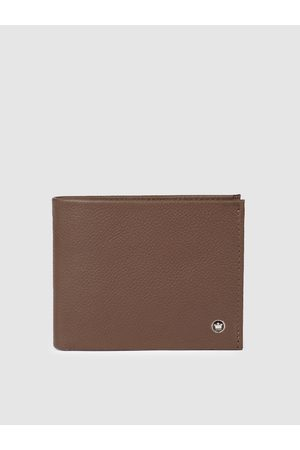 Louis Philippe Men Tan Brown Textured Leather Two Fold Wallet