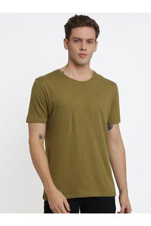 Crocodile Men Green Solid Round Neck T-shirt