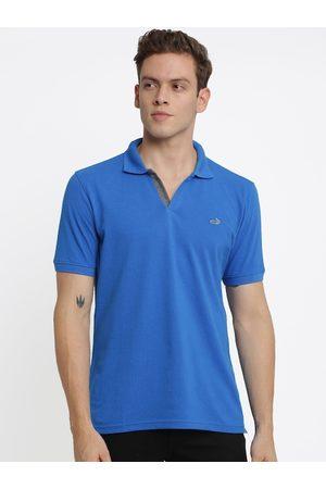 Crocodile Men Blue Solid Polo Collar T-shirt