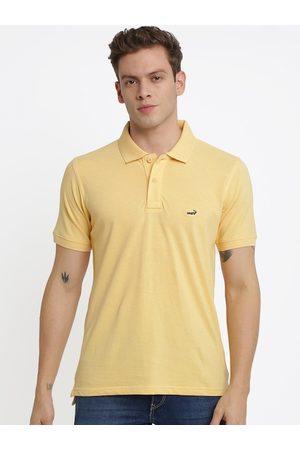 Crocodile Men Yellow Solid Polo Collar T-shirt