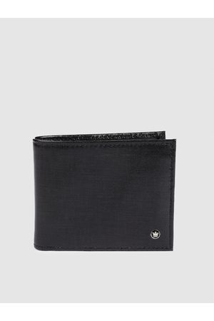 Louis Philippe Men Black Solid Two Fold Leather Wallet