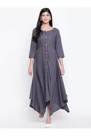 FABNEST Women Grey Solid Maxi Dress