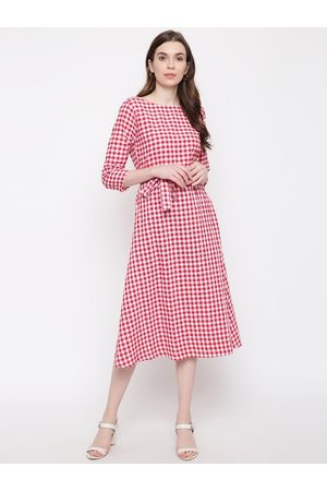 FABNEST Women Red & White Checked A-Line Dress