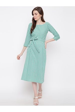 FABNEST Women Green & White Checked A-Line Dress