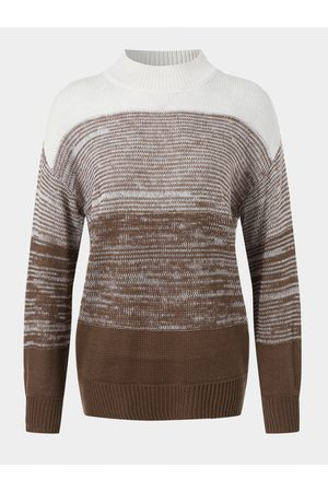 YOINS Casual Patchwork Turtleneck Long Sleeves Sweater