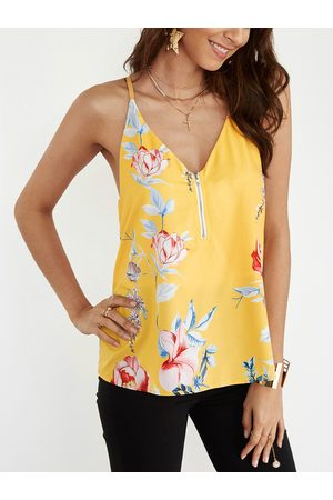 YOINS Random Floral Print V-neck Cami Top with Zipper Design