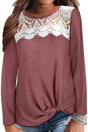 YOINS Red Lace Round Neck Long Sleeves Tee