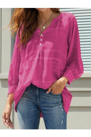 YOINS Rose Red Button Front Tie Dye V-neck Long Sleeves Shirt
