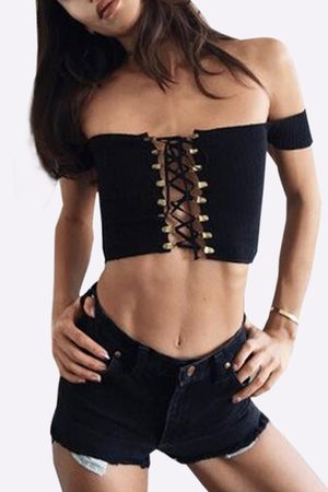 YOINS Off-The-Shoulder Plunging Criss-Cross Crop Top