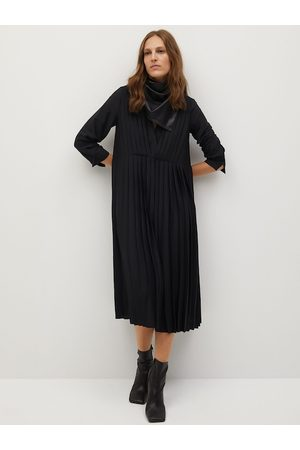 MANGO Women Black Accordion Pleats Sustainable A-Line Dress