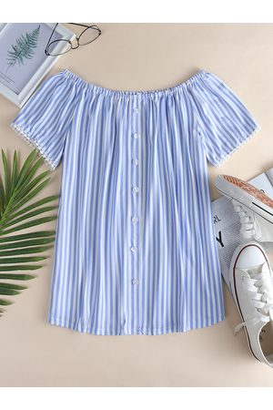 YOINS Stripe Off The Shoulder Front Button Tee