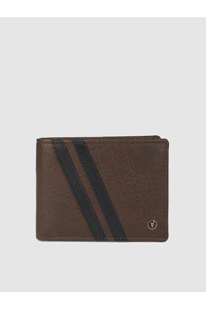 Van Heusen Men Brown & Navy Blue Textured Two Fold Wallet