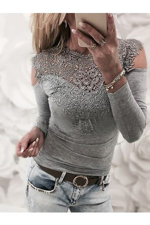 YOINS Lace Insert Cold Shoulder Long Sleeves Sexy T-shirt