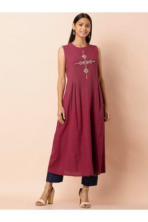 INDYA Women Maroon Embroidered Tunic
