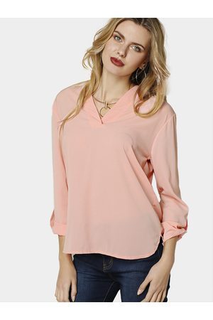 YOINS Women Jumpers - Casual Pullover V Neck Button Details Blouse