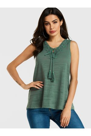 YOINS Women Vests - Crochet Lace Embellished V-neck Top
