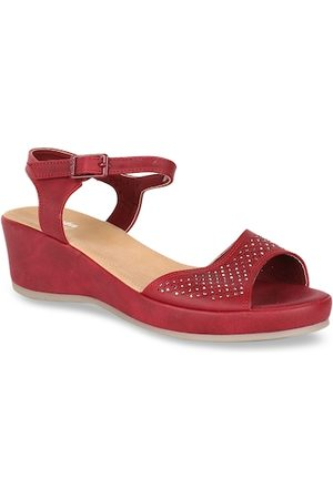 Bata Women Maroon Embellished Platform Heels