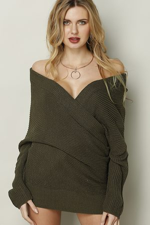 YOINS Dark Sexy Off-shoulder Wrapped Sweater