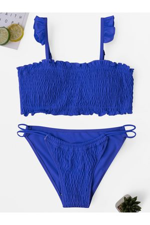 YOINS Blue Pleated Bikini Set