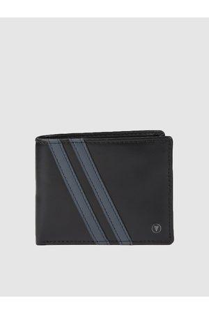 Van Heusen Men Black Textured Leather Two Fold Wallet