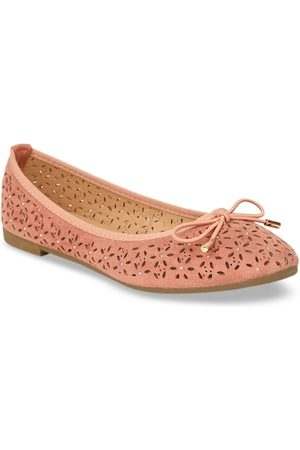 Bata Women Pink Textured Ballerinas