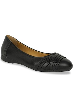 Bata Women Black Solid PU Ballerinas