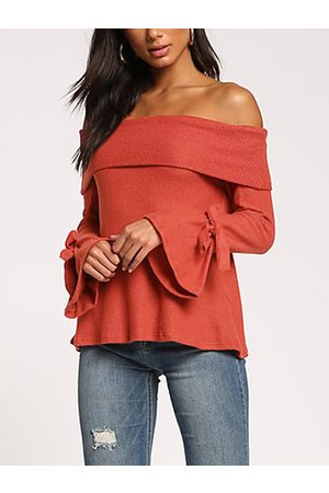 YOINS Off Shoulder Bell Sleeves Tie-up Design Sweater